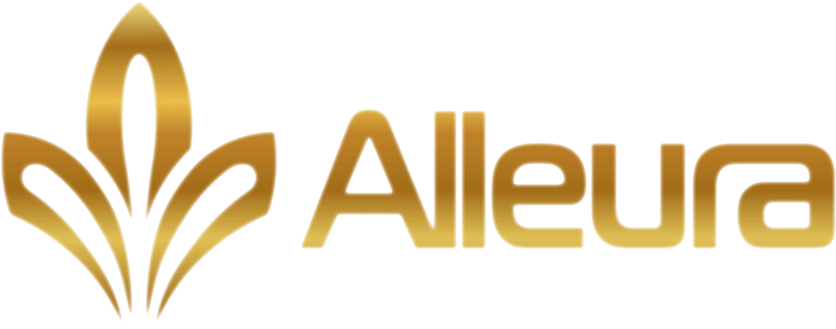 Alleura (Gold Full With White Outline) Logo